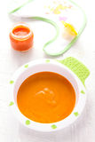 Baby food: carrot  puree Stock Image