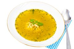 Baby food. Chicken soup with pasta stock image