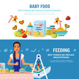 Baby Food 2 Flat Banners Royalty Free Stock Photos