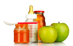 Baby food and fruit Stock Photo