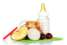 Baby food and fruit Stock Photography