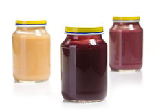 Baby food in glass jar Stock Photo