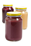 Baby food in glass jar Royalty Free Stock Images