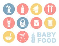 Baby food icon set Stock Photos