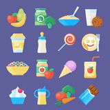 Baby food icon set. Healthy, simple meal, nutrition made specifically for babies feeding. Vector flat style cartoon illustration on blue background stock illustration