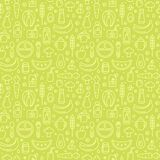Baby food items seamless pattern in contour style. Suitable for wallpaper, wrapping or textile royalty free illustration