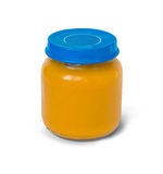 Baby food in jar  on white Royalty Free Stock Photos