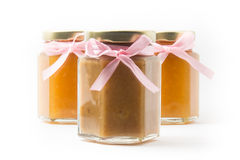 Baby Food in jars on white background, brandless Royalty Free Stock Image
