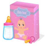 Baby food and milk bottle in pink colors. Vector vector illustration