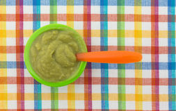 Free Baby Food On A Colorful Place Mat Stock Images - 93638154