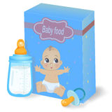 Baby food pack and milk bottle. Vector royalty free illustration