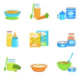 Baby Food And Products Set Of Icons Stock Image