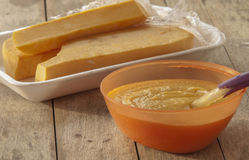 Baby food pumpkin puree Stock Photo