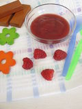 Baby food from raspberries for babies and toddlers. Homemade baby food from raspberries for babies and toddlers Royalty Free Stock Photos