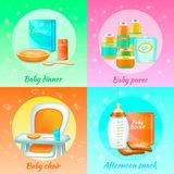 Baby Food Design Concept. Baby food 2x2 realistic 3d set of colourful compositions with baby puree and afternoon snack packs vector illustration Royalty Free Stock Photography