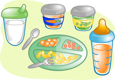 Baby food set illustration Stock Photos