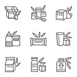 Baby food simple line icons Royalty Free Stock Image