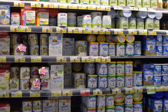 Baby food in the supermarket Royalty Free Stock Photography