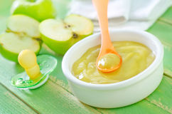 Baby food. On a table Royalty Free Stock Image