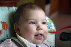 Baby food time. Happy baby have lunch time Stock Photography