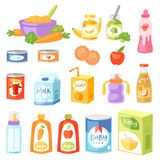 Baby food vector child healthy nutrition fresh juice with fruits and vegetable mashed puree for childcare health. Illustration childish set of carrot or apple vector illustration