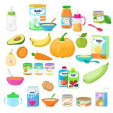 Baby food vector child healthy nutrition milk fresh juice with fruits and vegetable mashed puree for childcare health. Illustration childish set of carrot or stock illustration