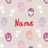 Baby foot announcement card. Cute design Stock Photos