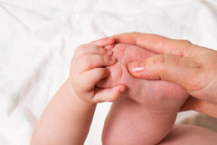 Baby foot in hand Royalty Free Stock Photos