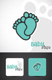 Baby foot logo. Artistic logo with baby foot and words baby steps Royalty Free Stock Images