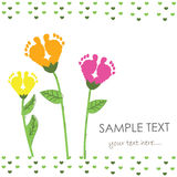 Baby foot print with flower vector. Background Stock Photos