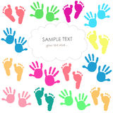 Baby foot print and hands kids colorful greeting card. Vector Stock Photo