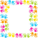 Baby foot print and hands kids colorful greeting card. Vector Royalty Free Stock Photo