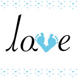 Baby foot print with love vector Royalty Free Stock Photo
