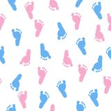 Baby foot prints. Baby shower background. Blue and pink foot pattern vector illustration