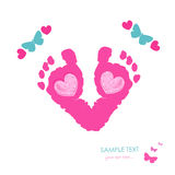Baby foot prints and butterfly newborn baby greeting card vector. Background stock illustration
