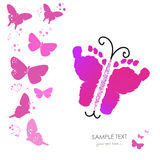 Baby foot prints and butterfly newborn baby greeting card vector. Background Stock Images