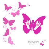 Baby foot prints and butterfly newborn baby greeting card vector Royalty Free Stock Image