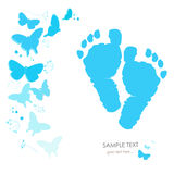 Baby foot prints with butterfly newborn baby greeting card vector background Royalty Free Stock Photo