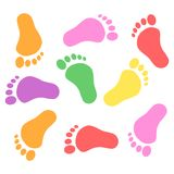 Baby foot prints.Colorful foot prints. Vector illustration of foot prints isolated on white background Stock Photography