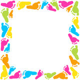 Baby foot prints frame vector background Stock Images
