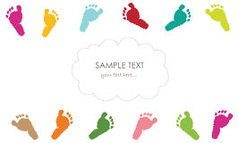 Baby foot prints greeting card Stock Photography