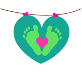 Baby foot prints with hanging hearts vector. Background Stock Photography