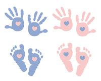 Baby foot prints with heart baby shower greeting card Stock Images