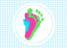 Baby foot prints with heart baby shower greeting card Stock Photos