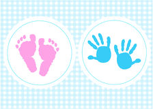 Baby foot prints with heart baby shower greeting card Royalty Free Stock Photo