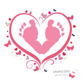 Baby foot prints with heart baby shower greeting card Royalty Free Stock Photos