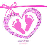 Baby foot prints with heart baby shower greeting card Royalty Free Stock Image