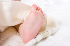 Baby foot in towel Royalty Free Stock Images