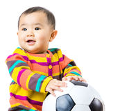 Baby football lover. Isolated on white Stock Photography