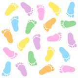 Baby footprint. Cute colorful baby footprints seamless pattern Royalty Free Stock Photos